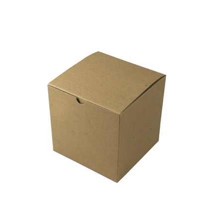 Recycled Natural Kraft Groove Gift Boxes 6x6x6