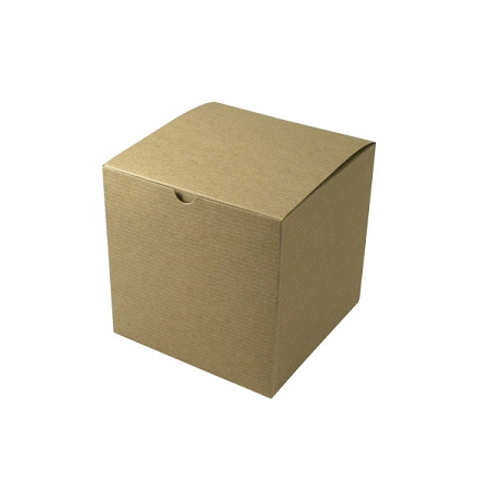 Recycled Natural Kraft Groove Gift Boxes 7x7x7