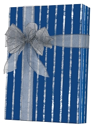 Bands Of Silver/Navy/Kraft Wrapping Paper