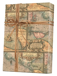 World Map-Kraft Wrapping Paper