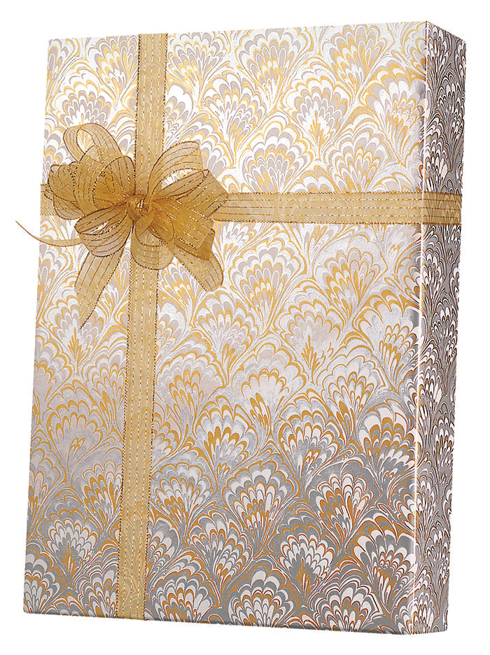 Gold & Silver Feathers Wrapping Paper