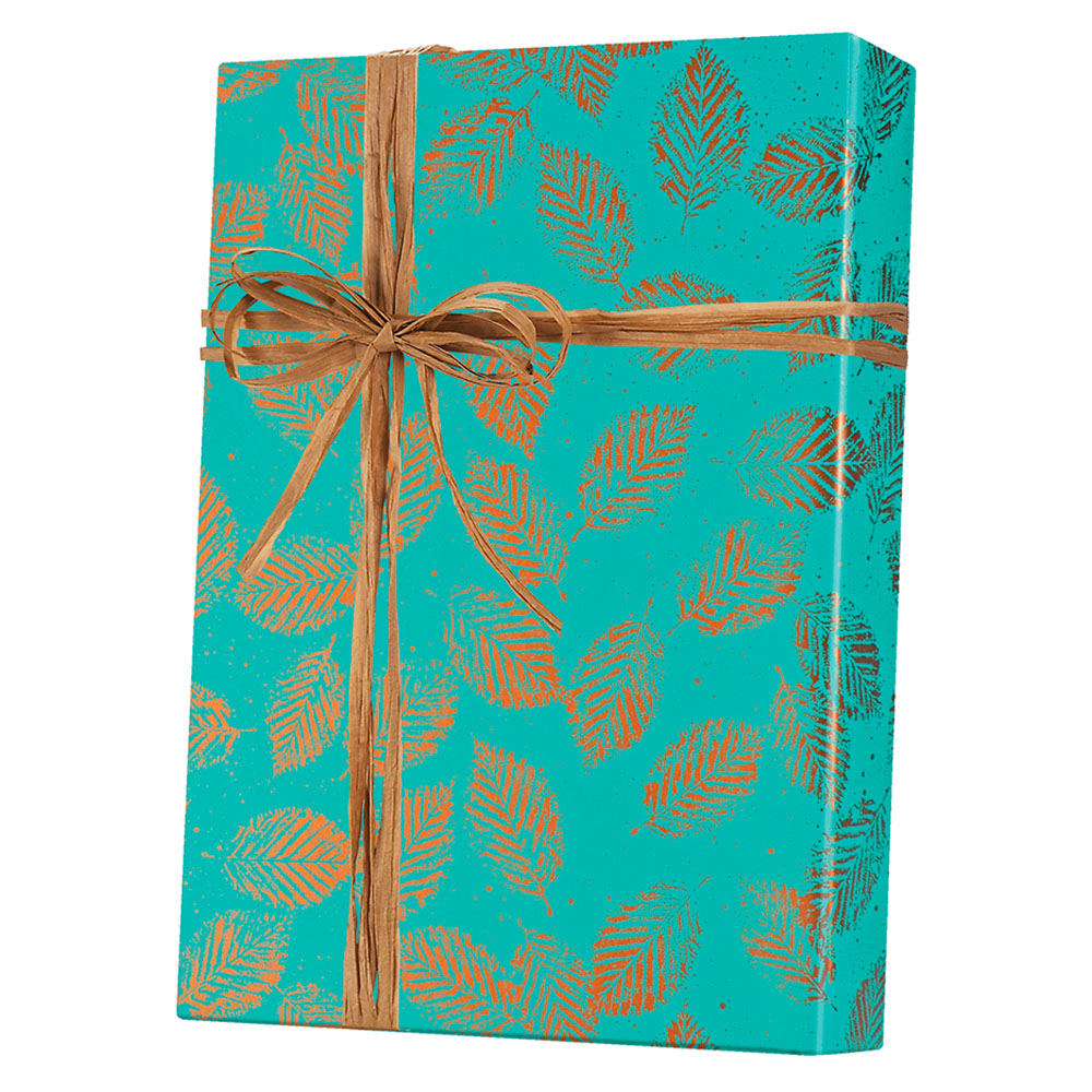 Copper Leaves Wrapping Paper
