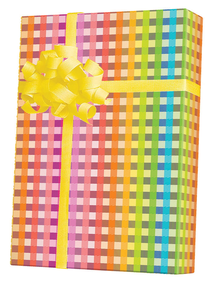 Rainbow Gingham Wrapping Paper