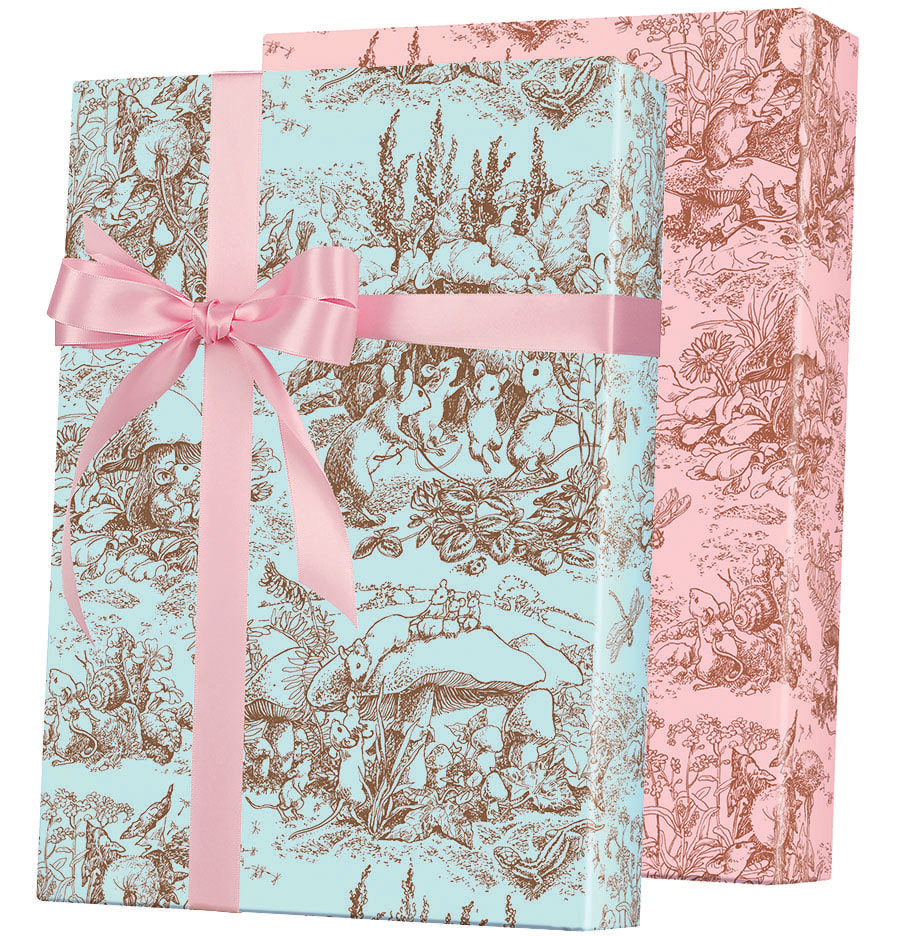 Baby Toile Reversible gift Wrapping Paper
