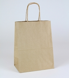 8x4.75x10.25/10 Bags Shopping 100% Recycled Natural Kraft