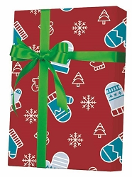 Mittens, Trees & Snow Gift Wrapping Paper