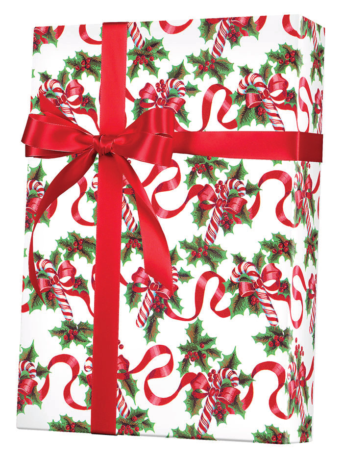 Red Ribbons & Canes Wrapping Paper