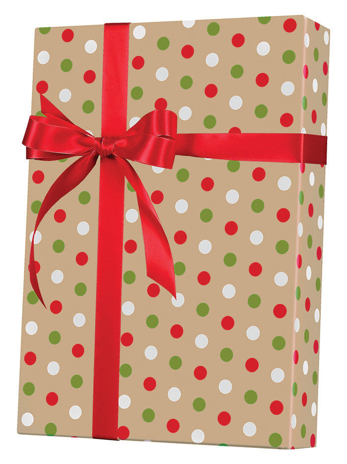 Dotty Christmas/Kraft Wrapping Paper