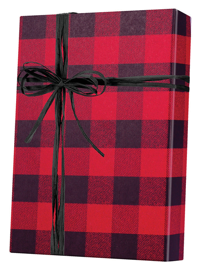 Festive Flannel/Kraft Wrapping Paper