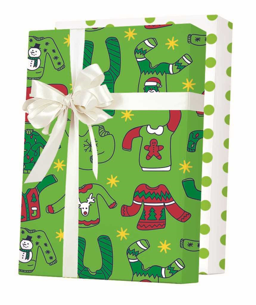 Ugly Christmas Sweaters Reversible Gift Wrapping Paper
